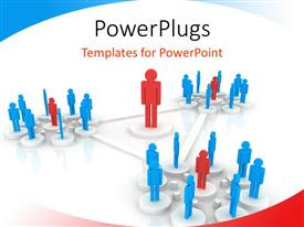 PowerPlugs: PowerPoint template with blue figures arranged in circles around red figures