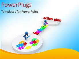 PowerPlugs: PowerPoint template with blue figures assembling multicolored jigsaw pieces to reach Action Plan