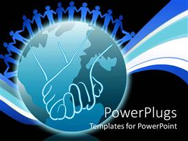 PowerPlugs: PowerPoint template with blue figures joining hands on an earth globe on black background
