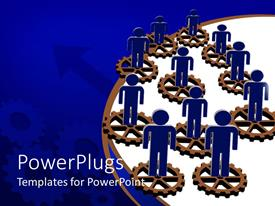 PowerPlugs: PowerPoint template with blue figures stand on disconnected brown gears