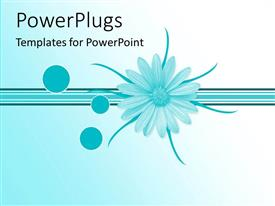 PowerPlugs: PowerPoint template with a blue flower with a number of blue lines