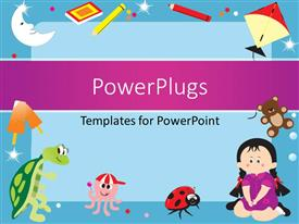 PowerPlugs: PowerPoint template with blue frame with objects like colors, book, ice cream, teddy bear, kite, octopus, tortoise and a little girl