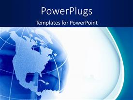 PowerPlugs: PowerPoint template with blue glass globe with map over white background