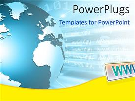 PowerPlugs: PowerPoint template with blue globe on binary background with arrow pointing to WWW