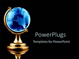 PowerPoint template displaying blue globe black background gold world white text communication