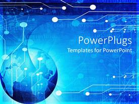PowerPlugs: PowerPoint template with blue globe, circuit board background, world of technology