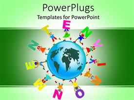 PowerPoint template displaying blue globe with kids around the earth holding letters raised to form the word environment