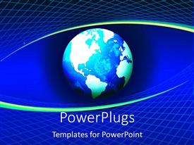 PowerPlugs: PowerPoint template with blue globe looks like eye on blue background