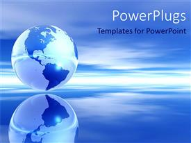 PowerPlugs: PowerPoint template with blue globe ocean and sky over water