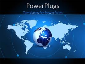 PowerPlugs: PowerPoint template with a blue globe with orbits and a map background