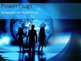 PowerPoint template displaying blue globe people standing in dark silhouettes