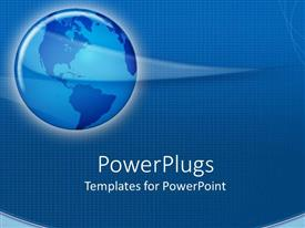 PowerPoint template displaying blue globe with white glow round it on blue background with gridlines