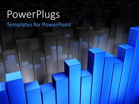 PowerPlugs: PowerPoint template with a blue graph with its shadow in the background