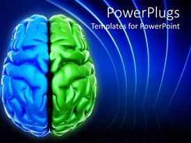 PowerPlugs: PowerPoint template with blue and green brain depiction digital representation of brain with two different colored halves