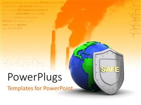 PowerPlugs: PowerPoint template with blue and green colored 3D globe with metallic shield with industrial theme