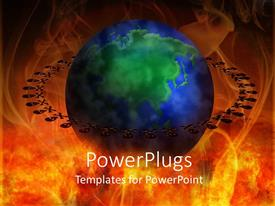 PowerPlugs: PowerPoint template with a blue and green colored earth globe on a fiery background