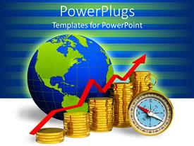 PowerPoint template displaying blue and green globe behind gold coins, red arrow and compass