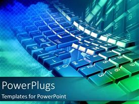 PowerPlugs: PowerPoint template with blue green keyboard fading into background