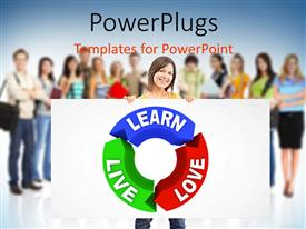 PowerPlugs: PowerPoint template with blue, green and red curved lines with text Learn Live Love