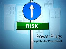 PowerPlugs: PowerPoint template with a blue and green sign post spelling out the text 'Risk'