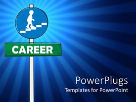 PowerPlugs: PowerPoint template with a blue and green sign post spelling out the text ' Career '