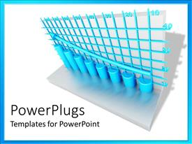 PowerPlugs: PowerPoint template with blue grid lines and round columns with arrow showing gradual increase