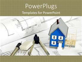 PowerPlugs: PowerPoint template with blue house model next to rubber, pen and compass on blueprints