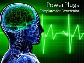 PowerPlugs: PowerPoint template with blue human exoskeleton with lighted and blurry green ecocardiogram waves