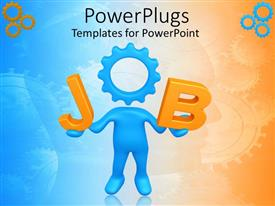 PowerPoint template displaying blue human figure with a gear head forming a JOB text