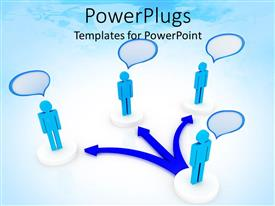 PowerPlugs: PowerPoint template with blue human figure standing at the end of a three way blue arrow