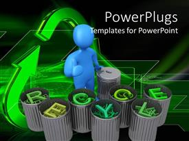 PowerPlugs: PowerPoint template with blue human figure standing in front of bins with the words recycle