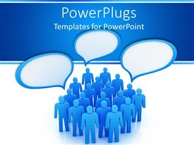 PowerPlugs: PowerPoint template with blue human figures with dialogue boxes over them in white background
