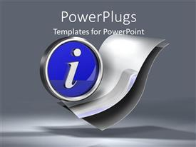PowerPoint template displaying blue information symbol on two metallic sheets on grey background