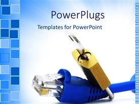 PowerPlugs: PowerPoint template with blue internet cable end with locket and key on light blue and white background