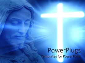 PowerPoint template displaying blue large depiction of Jesus and a large shinning cross