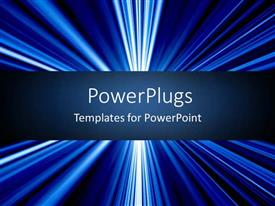 PowerPoint template displaying blue light rays with navy banner