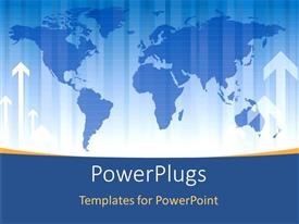 PowerPlugs: PowerPoint template with blue map with white arrows pointing upwards on it