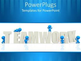 PowerPoint template displaying blue men putting together the word teamwork, business