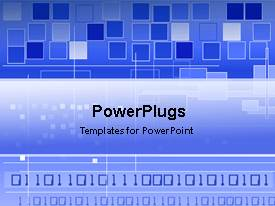 PowerPoint template displaying blue motion digital square displays on a blue background
