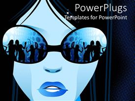 PowerPoint template displaying blue painted female face wearing glasses showing people dancing