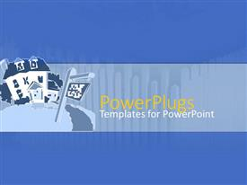 PowerPoint template displaying a blue painted house with a flag on a plain blue background