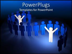 PowerPlugs: PowerPoint template with blue people in line and two highlighted white people standing out