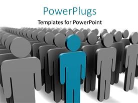 PowerPlugs: PowerPoint template with blue person stands out among grey people with white color