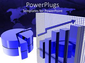 PowerPlugs: PowerPoint template with a blue piechart and a barchart with a world map background