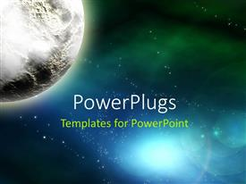 PowerPlugs: PowerPoint template with a planet with a lot of galaxies in the background