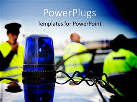 PowerPoint template displaying blue police flashing light on car roof with officers holding communication radio