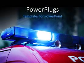 PowerPlugs: PowerPoint template with blue police siren on red police van with buildings