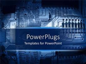 PowerPlugs: PowerPoint template with blue printed circuit board, motherboard, computer component