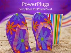 PowerPlugs: PowerPoint template with blue and purple floral patterned flip flops in sand with colorful cup
