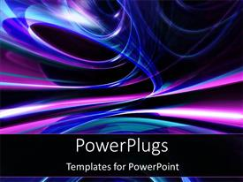 PowerPoint template displaying blue and purple lights in space abstract nightlight club on black background